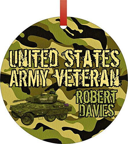 Jacks Outlet A United States Army Veteran Ornaments You Can Personalize Round Shaped Flat Aluminum Semigloss Christmas Ornament Tree Decoration - Customize Yours Now!