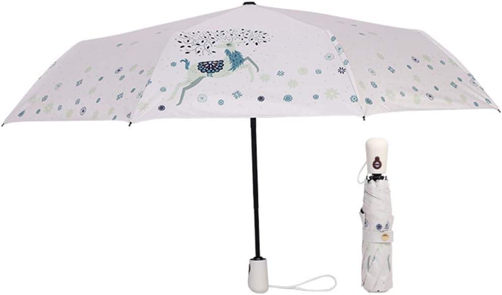 JUNDY Paraguas Compacto y Resistente al Viento, Paraguas Plegable, Conveniente para Viajes Paraguas automático de Dibujos Animados Protector Solar de plástico Negro colour11 98cm: Amazon.es: Hogar