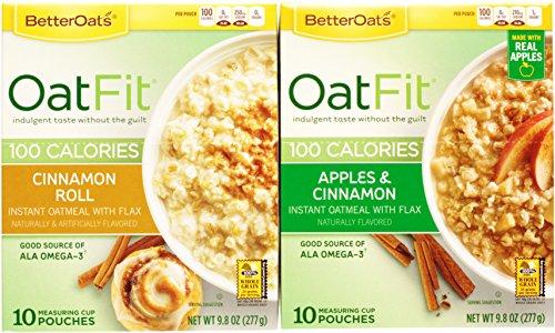 Better Oats Oat Fit Bundle: (1) Cinnamon Roll 9.8oz, (1) Apples & Cinnamon 9.8oz (2 Boxes Total) (Apple Cinnamon Rolls)