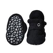 Zutano Cozie Fleece Baby Booties With Grippers 12M (6-12 Months), Black