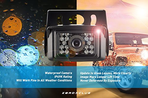 ZEROXCLUB W01 7 Digital Backup System Kit,No Interference,IP69 Waterproof Rear View Camera 7/'/' LCD Wireless Reversing Monitor