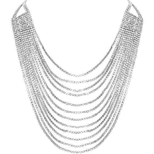 Humble Chic Darling Waterfall Bib Necklace Multi-Strand Chain CZ Simulated Diamond Collar, (Multi Strand Waterfall Necklace)
