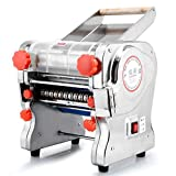 750W 110V Stainless Steel Commercial Electric Noodle Pasta Machine Pasta Maker Dough Roller Noodle Cutting Machine (Dough Knife Length 22cm,Noodle Width 2mm / 6mm)