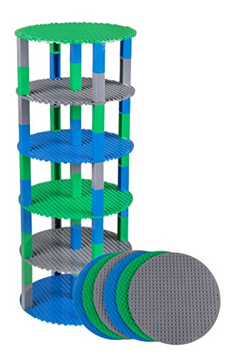 Strictly Briks Classic Stackable 8 Circle Baseplate Brik Tower Building Brick Set   100% Compatible with All Major Brands   6 Base Plates & 50 Stackers   Green, and Gray
