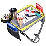 Kids Car Seat Travel Lap Tray for Snack and Play, Easy to Clean Activity Table with Cup Holder and Removable Strap, Sturdy Toddler Lap Desk-Kids Travel Tray(Gray/Yellow)