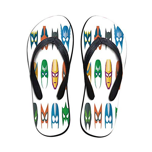 Superhero Printing Flip Flops,Hero Mask Female Male Costume Power Justice People Fashion Icons Kids Display for Home or Holiday,US Size 6]()