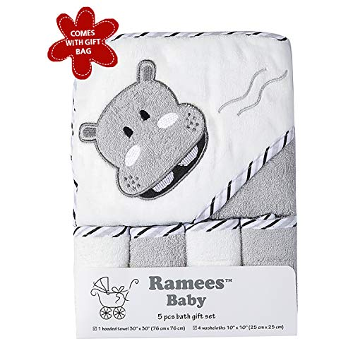 Ramees Baby Hooded Bath Towel and Washcloths, 5 Pack, Grey Hippo