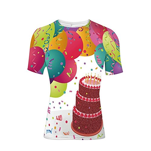 Tee Shirts Tops,Triplex Cake Candles Ribbons Balloons Newborn,Mens 3D Print