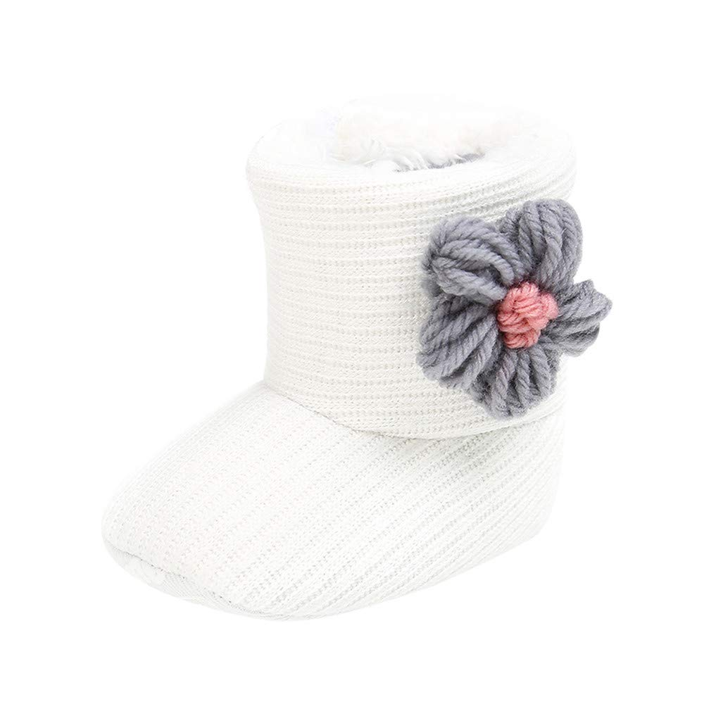 Jchen(TM) Newborn Baby Girls Boys Winter Warm Boots First Walkers Shoes Flower Home Indoor Boots for 0-24 Months (Age:6-12 Months, Gray)