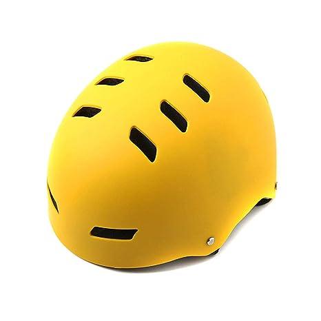 QZPDP Casco Infantil Monopatín,Casco para Bicicleta, Scooter para Casco para niños, 12 Agujeros Ajustables, Adecuado para Circunferencia de la Cabeza 54-62 cm, Cabeza de protección,Amarillo,53~62cm: Amazon.es: Deportes y aire libre