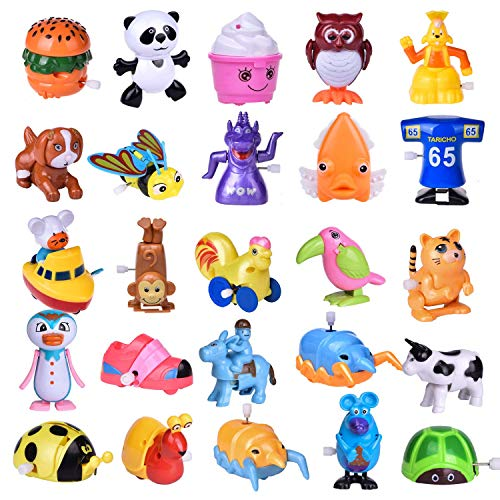 Fun Little Toys Wind Up Toys 25 PCs Assorted Animal Toys for Party Favors, Birthday Goodie Bags, Kids Prizes (More Than 2 Dozen)