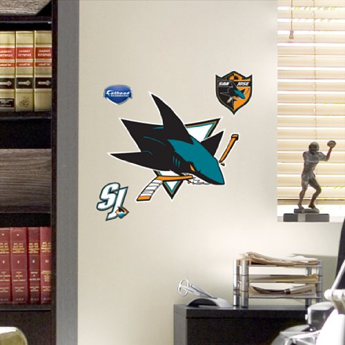 NHL San Jose Sharks Fathead Wall Set, 13 x 11-inches (San Jose Sharks Decor compare prices)