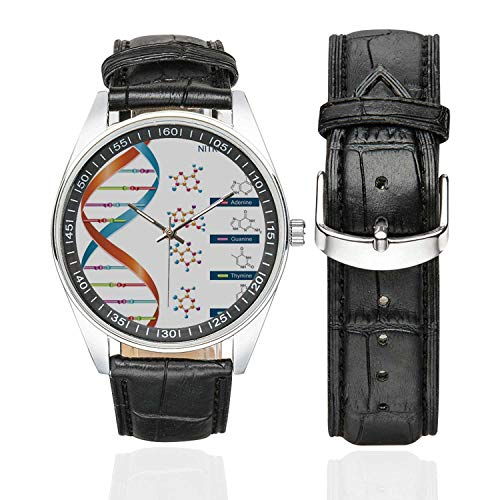 Educational Casual Leather Strap Watch,DNA Bases Chemistry Biochemistry Biotechnology Science Spiral Symbol Genetic for Men,Case Diameter:1.57
