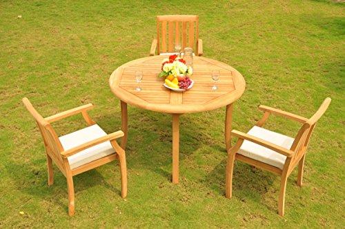 (New 4 Pc Luxurious Grade-A Teak Wood Outdoor Dining Set - 48