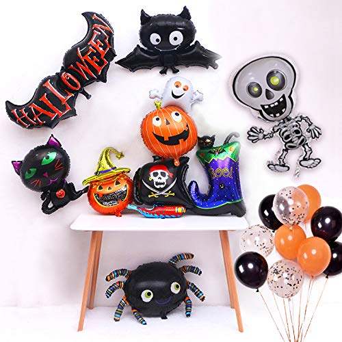 Cute Cartoon Halloween Them Party Supplies, Halloween Decoration Set with Bat Balloons Skeleton Balloon Spider Balloon Pumpkin Balloon Cat Balloon for Halloween Trick Treat Scary Party Fun (Colorful) ()