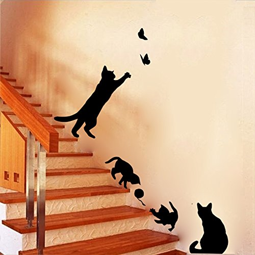 Black cats design catching butterfly playing with ball art peel stick wall stickers diy vinyl wall decals applique for home stairway decor baseboard