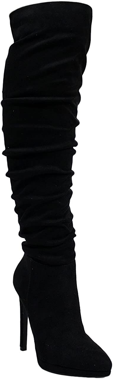 Ll Gisele-7 Lyte-2 Thigh High Stretchy Suede Material Pointy Toe Stiletto Heel Boots Black,Black Lyte,9