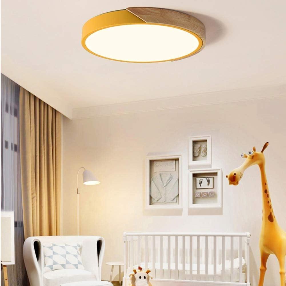 Montaggio a Filo Lincjly Plafoniera for Camera da Letto for Bambini , Lampada da soffitto a LED Ultrasottile Lampada da soffitto con Acrilico in Legno (Giallo)