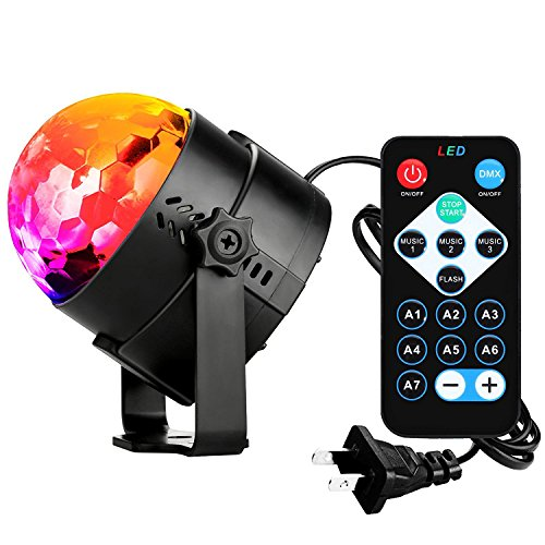 LETTON Led Party Disco Ball DJ Lights 3w Strobe Rotating Magic Lights Show Sound Activated DJ Stage Dance Wedding Holiday Lamp Lighting Kids Party Toys Night lights