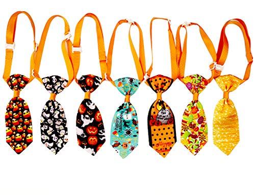 Masue Pets 10pcs/Pack Cat Dog Ties for Autumn/Fall Thanksgiving Pet Ties Pumpkin Skull Dog Neckties Dog Bowties Collar Holidays Dog Ties Dog Grooming Accessories