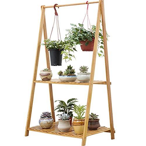 Cyanbamboo Bamboo Folding Plant Rack Flowerpot Hanging Rack Shelf (2-Tier)