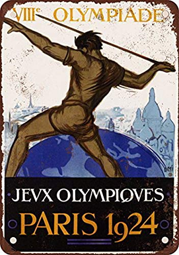 Houseuse 1924 Olympic Games Paris Vintage Look Reproduction Metal Tin Sign 8X12 Inches - Olympic 1924 Games