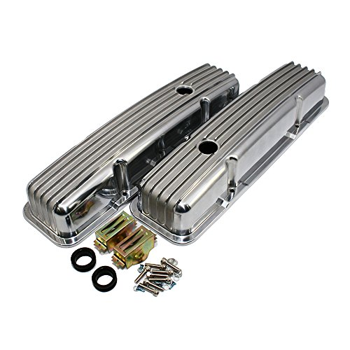 cts A6186 Chevy Small Block Finned Polished Aluminum Short Style Valve Covers Pre-86 Retro (Chevrolet Small Block)