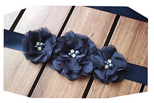 Bridesmaid and Flowergirls sashes wedding sash pearls flowers belts (Dark navy) by nania