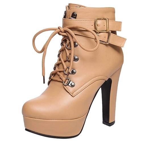 Kaizi Karzi Mujer Moda Tacon Alto Bot¨ªn Corto Tobillo Alto Plataforma Fiesta Zapatos Apricot