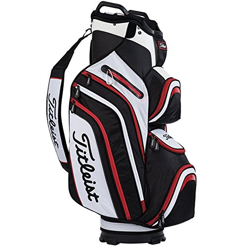 Titleist Deluxe Cart Bag, Black/White/Red - Titleist 14 Way Cart Bag