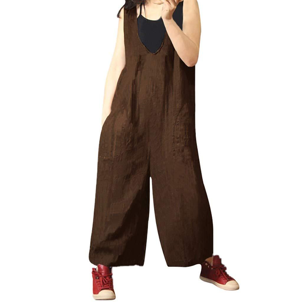 LISTHA Cotton Linen Long Jumpsuit Woman Wide Leg Straight Pants Casual Rompers