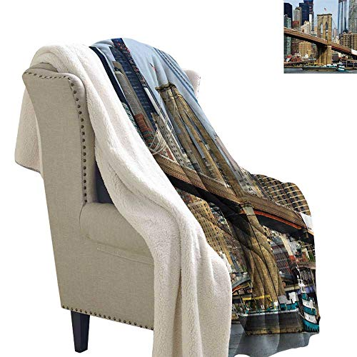 Gabriesl Urban Light Thermal Blanket 60x47 Inch Skyline of Brooklyn New York USA Cityscape Bridge Buildings and River Coastal Scenery snuggies for Adults Multicolor]()