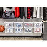 Men's Clear Shoe Storage Containers Boxes, 4 pack