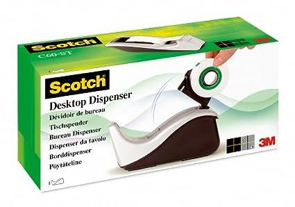 Scotch C60, Dispensador de cinta adhesiva, incluye 1 rollo de cinta Scotch Magic, 19 mm x 33 m, plateado/negro: Amazon.es: Oficina y papelería