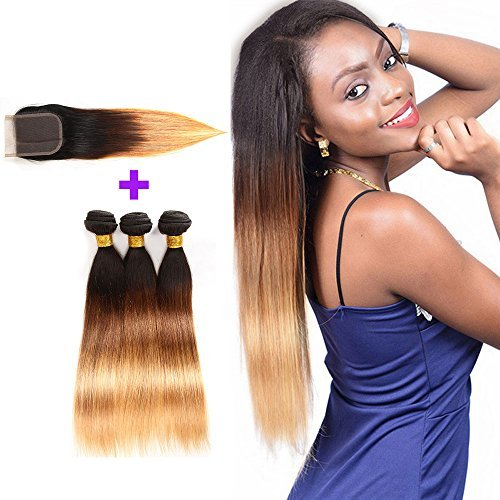 - Brazilian Hair 3 Bundles with Closure, Unprocessed Straight Virgin Human Hair Extensions, 4x4 Lace Free Part Closure Natural Color (20 22 24with18, T1b/4/27)
