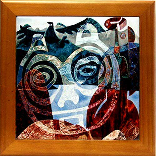 Wood Framed Ceramic Tile Trivet, She Who Watches Petroglyph Artwork, Kitchen Decor Housewarming ()
