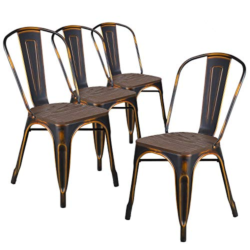 LCH Metal Dining Chair Indoor/Outdoor Stackable with High Back and Wood Top, Set of 4, Bronze