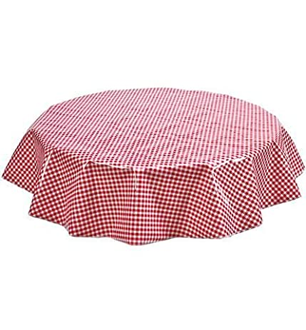 Superb Round Oilcloth Tablecloth In Gingham Red   You Pick The Size!