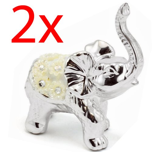 2 X LARGE SILVER ELEPHANT MILLIE ORNAMENT FIGURE STANDING STATUE GIFT HOME DECOR