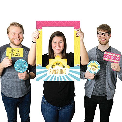Big Dot of Happiness You are My Sunshine - Birthday Party or Baby Shower Selfie Photo Booth Picture Frame & Props - Printed on Sturdy Material