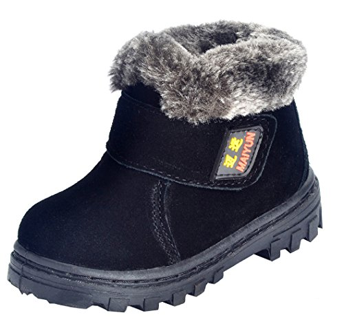 DADAWEN Boy's Girl's Suede Leather Outdoor Waterproof Fur Lined Winter Snow Boots (Toddler/Little Kid/Big Kid) Black US Size 3.5 M Big Kid (Winter Boot Kids Fur Suede)