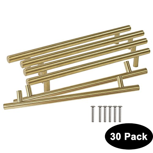 Probrico 30pcs Brushed Brass Cabinet Handles for Kitchen Door 1/2