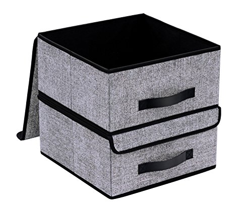 (Onlyeasy Foldable Storage Bins Cubes Boxes with Lid - Storage Box Cube Cubby Basket Closet Organizer Pack of Two with Leather Handles for Closet Bedroom, 13