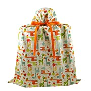 Giraffes Reusable Fabric Gift Bag for Baby Shower, Child's Birthday or Any Occasion (Jumbo 26.5 Inches Wide by 33 Inches High, Cream)