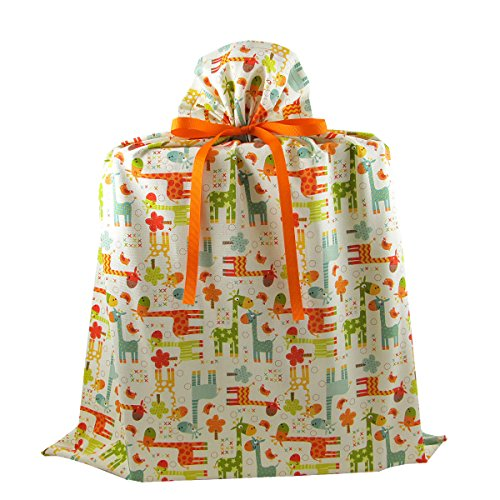 Giraffes Large Reusable Fabric Gift Bag