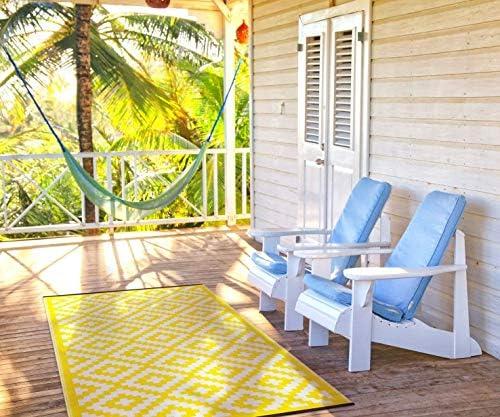 Lightweight Outdoor Reversible Plastic Rug Nirvana Yellow / White