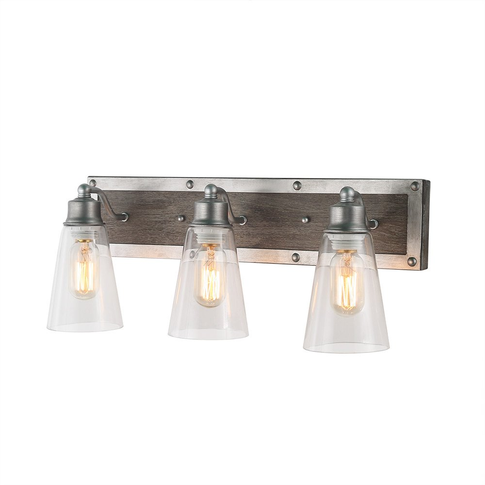 Log barn 3 lights rustic vanity light in real distressed wood and brushed antique silver finish with cone clear glass shades 21 3 bathroom wall