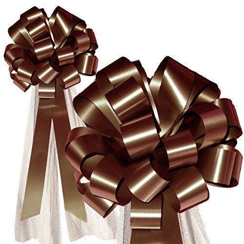 Umber Pull (Brown Wedding Pull Bows with Tulle Tails - 8