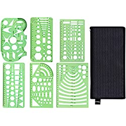 Kasmena 6 Pcs Plastic Geometric Drawings Stencils Measuring Templates for Office and School,Planner Painting Drawing,Clear Green Color