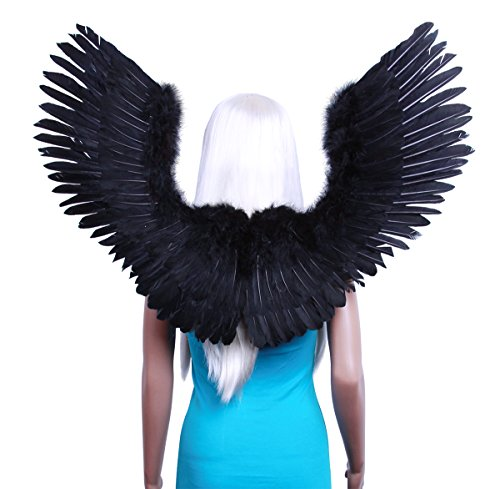 [FashionWings (TM) Black Open Swing V Shape Costume Feather Angel Wings Adult Unisex] (Angel Wings For Halloween Costumes)